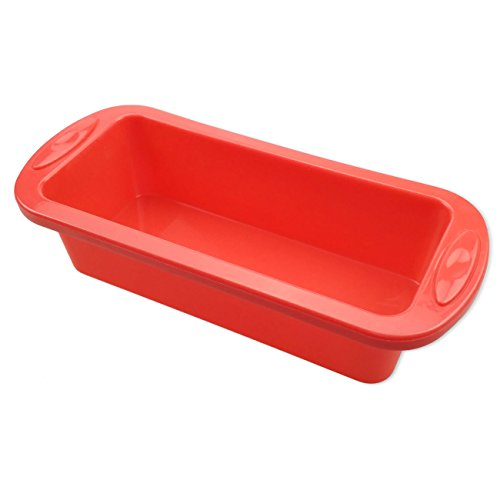 Cake-BakewareSilivo-25-Deep-Cake-Pan-Silicone-Cake-Moulds-Rectangle-Bread-Loaf-Mold-Baking-Moulds-Tray-Bakeware-Set-for-CakesBreadPiePancakesPizzaRed-0